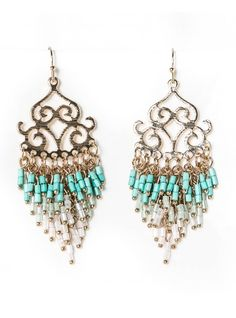 $15  GOLD TURQUOISE BEADS CHAIN EARRINGS