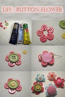 DIY Button Flower #diy #button #flower #decoration