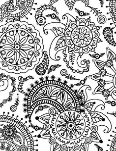 flowers and paisley coloring pages | Paisley Flower Pattern (Portrait)