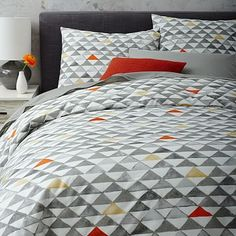 Thinking of this Duvet cover for bed in bedroom/office -> Mod Triangle Duvet Cover + Shams #westelm
