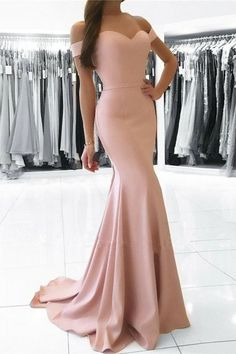 Mermaid Off-the-Shoulder Sweep Train Pearl Pink Prom Dress with Sash M1601