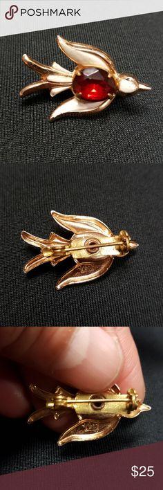 Vntg1950's Coro Red Rhinestone Dove Brooch Vntg1950's Coro Red Rhinestone Dove Brooch VIntage Jewelry Brooches
