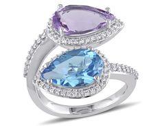 Julianna B Diamond, Amethyst & Swiss Blue Topaz Ring in 14k White Gold