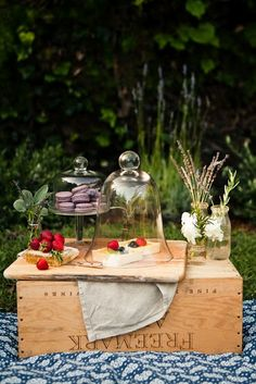 love the wine crate and bell jar/cloche
