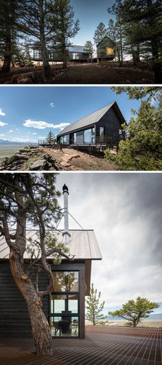 Renée del Gaudio Architecture have designed Big Cabin | Little Cabin in Fairplay, Colorado, that consists of two cabins perched atop a rocky cliff at 10,000 feet. #Architecture #ModernCabin