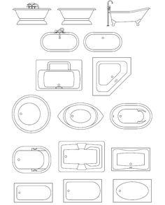 bathroom templates   ... foot tubs, spa bath tubs CAD symbols, and CAD blocks of bath tubs