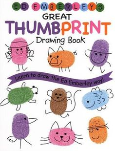 My nieces came over last week and we made thumbprint cards with inspiration from Ed Emberley& books. He had ideas for making all sorts of . Food Art For Kids, Easy Crafts For Kids, Projects For Kids, Art Projects, Simple Crafts, Ed Emberley, Thumbprint Crafts, Fingerprint Art, Thumb Prints