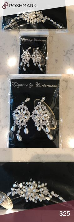 Bridal Earrings and Bracelet Rhinestones and fresh water pearls bracelet and chandelier earrings. Elegance by Carbonneau Jewelry