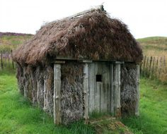 """""""Goose Hut"""" made with wood and heather. Recently restored having belonged to Poet Ian Hamilton Finlay in Scotland"""