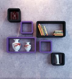 Buy DecorNation Black & Purple MDF Floating Wall Shelf Cube Rectangle - Set of 6 Online: Shop from wide range of Wall Shelves Online in India at best prices. ✔Free Shipping✔Easy EMI✔Easy Returns