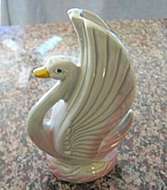 Vintage swan vase/planter for sale at More Than McCoy on TIAS in the Pottery/Chalkware Novelties category.