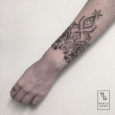Marla Moon Creates The Most Beautiful Geometric Tattoos Mandala Tattoo Design, Mandala Wrist Tattoo, Henna Tattoo Designs Arm, Neck Tattoo For Guys, Wrist Tattoos For Guys, Floral Tattoo Design, Sleeve Tattoos For Women, Dream Tattoos, Rose Tattoos