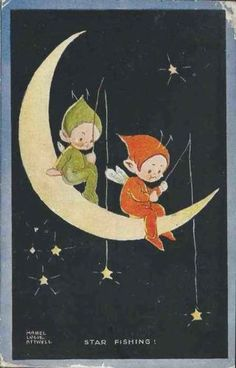 Mable Lucie Attwell #653 signed Postcard USED VG 1927, PIXIES, Elves, Moon