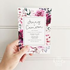Floral classy modern white invitation engagement invitation design custom script handwritten calligraphy plum berry. Using Bellwethers font by Angie Makes