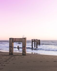 The ruins of Davenport Pier are located on Davenport Pier Beach, just north of Davenport on Highway 1, which is about 11 miles north of Santa Cruz.
