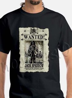 Most Popular Pirates of the Caribbean Wanted Jack Sparrow Tee T Shirt Men #Gildan #BasicTee