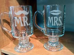 Mr. and Mrs. 9.5 oz Irish Coffee Glasses Etched with Lips and Mustache by Everything Blasted, $14.95 USD