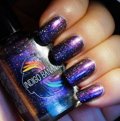 They Became Music - dark blue multichrome linear holographic with holographic flakies, nail polish by Indigo Bananas Flower Nail Designs, Nail Designs Spring, Toe Nail Designs, Uv Gel Nail Polish, Nail Polish Colors, Pastel Nails, Acrylic Nails, Holographic Nails, Flower Nails
