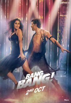 Bang Bang - 2014 Bollywood Action Movie Poster With Hrithik Roshan And Katrina Kaif Dancing Style Bollywood Action Movies, Hindi Bollywood Movies, Bollywood Actress, Hindi Movie, Bollywood Stars, Bollywood Poster, Action Movie Poster, Movie Posters, Katrina Kaif Movies