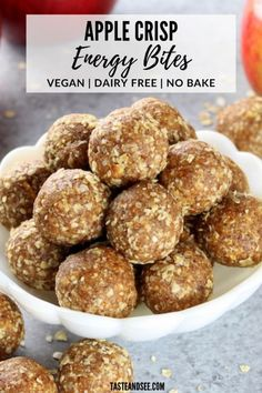 These Apple Crisp Energy Bites are the perfect snack! – Anne These Apple Crisp Energy Bites are the perfect snack! These Apple Crisp Energy Bites are the perfect snack! Protein Dinner, Healthy Protein Snacks, Protein Bites, Healthy Recipes, Paleo Protein Balls, Apple Recipe Healthy, Healthy Energy Bites, Apple Recipes Healthy Clean Eating, Oatmeal Energy Bites