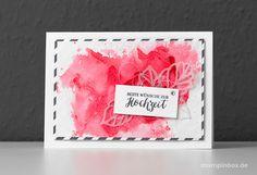 Eine Hochzeitskarte in der Stampin' Up! In Color Farbe Flamingorot, einem Aquarelleffekt und einem pergamenten Rosenblatt (Thinlits Rosengarten). #stampinup #stampinbox http://stampinbox.de