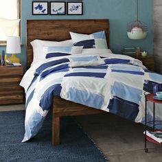 Stria Bed Set   west elm  walls Bell's Beach Blue from Benjamin Moore