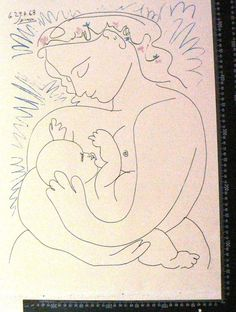 picasso mother and child-sold as is- COLORED  engraving - losses. Free shipping