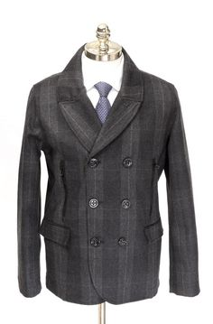 ROBERT GRAHAM O'Connor Gray Plaid Wool Double Breasted Pea Coat  |  Have at it! http://www.frieschskys.com/outerwear  |  #frieschskys #mensfashion #fashion #mensstyle #style #moda #menswear #dapper #stylish #MadeInItaly #Italy #couture #highfashion #designer #shop