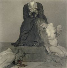 Sidonie Springer (German, 1878-1935), Schmerzliches Wiederfinden [Painful recovery], 1919-20. Black chalk and pencil with traces of red pen, 44.8 x 41.5 cm.