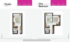 Denah apartemen Pollux Technopolis Karawang tipe Studio dan 1 BR.