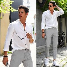 30 Best White Sneakers for Men in Summertime is part of Sneakers men fashion - The only issue is they're not always so obvious Due to their affordability, you always have the option to purchase […] Formal Men Outfit, Men Formal, New Outfits, Trendy Outfits, Stylish Men, Men Casual, Best White Sneakers, Elegantes Outfit, Men Dress