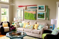 Spring - ify the Living Room with DIY Projects and Upcycled Thrifted Finds at thehappyhousie