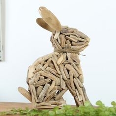 Wooden home decor office decor cute rabbit very creative ornament | woodenlife - Woodworking on ArtFire