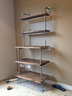 Galvanised pipe shelves