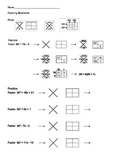 Factoring Quadratic Expressions Color Worksheet #3 | Worksheets