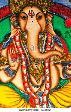 Hilltop 2006 - sitting Lord Ganesh God mandala psychedelic decoration painting on canvas - Stock Image