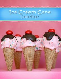 Ice Cream Cone Cake Pops By The Brides Diary DIY -- see more at LuxeFinds.com