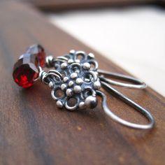 Garnet Earrings Sterling Silver January Birthstone by loriyab