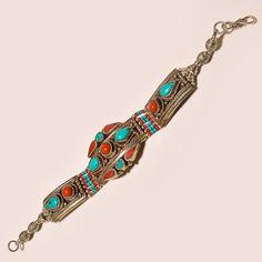 HANDMADE STERLING SILVER SEMI PRECIOUS GEMSTONE TURQUOISE & JASPER 39GM BRACELET #Abhigyaartjewelry #Traditional