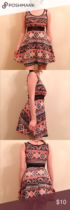 Aztec Lace Skater Dress, Multi Cute skater dress! Worn a few times. Condition is 9/10. Lace middle with scuba polyester material. True to size S. Dresses