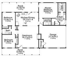 Style House Plan 40026 with 3 Bed, 2 Bath, 2 Car Garage Floor Plans - 1 Story Cape Cod Home with 3 Bedrooms, 2 Bathrooms and total Square FeetFloor Plans - 1 Story Cape Cod Home with 3 Bedrooms, 2 Bathrooms and total Square Feet House Plans One Story, Ranch House Plans, Bedroom House Plans, New House Plans, Dream House Plans, Story House, Small House Plans, House Floor Plans, The Plan