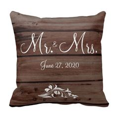 Mr. and Mrs. Rustic Wedding Pillows Flower Decor