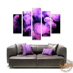 5 Piece Wall Art Jellyfish Sea World Animal Picture Purple Painting Canvas Prints Wall Paintings for Bedroom No Frame  #prints #printable #painting #canvas #empireprints #teepeat