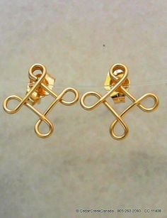 Wire Wrapped 14 20 Gold Filled Diamond Ear Studs     CC-11408