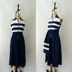 WOW!  Adorable!  1940s Vintage Sundress  40s Navy Blue Cotton by Sweetbeefinds, $118.00 Women's vintage spring summer nautical fashion clothing outfit