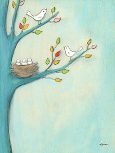 """Baby Birds"" kids wall decor by Creative Thursday by Marisa for Oopsy daisy, Fine Art for Kids $119"