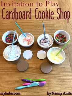 An invitation to play: cardboard cookie shop Set up a cardboard cookie shop for your little ones to enjoy. It will give them hours of fun pretending, creating, and learning. Activities For 2 Year Olds, Toddler Learning Activities, Play Based Learning, Craft Activities For Kids, Kindergarten Activities, Summer Activities, Indoor Activities, Family Activities, Preschool Classroom