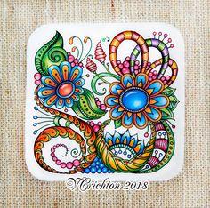 Zentangle art, tales zentangle zentangle gems and droplets, colour pencils. Zentangle Drawings, Doodles Zentangles, Zentangle Patterns, Doodle Drawings, Gem Drawing, Mandala Drawing, Zantangle Art, Ukulele Art, Linear Art