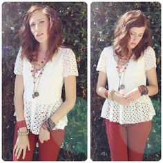 Love Necklaces, The Beat Red White And Blue Bracelet, The Beat Clothing Sweet Lace Blouse, The Beat Red Skinny Jeans - Always Dream - Dani R...