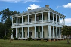 Rural Tradition - Wraparound Porch. John McKenzie Gunn House. Cuthbert, GA. 1853. Old Southern Plantations, Southern Plantation Homes, Southern Homes, Greek Revival Architecture, Southern Architecture, Georgia Usa, Georgia Homes, Greek Revival Home, Antebellum Homes